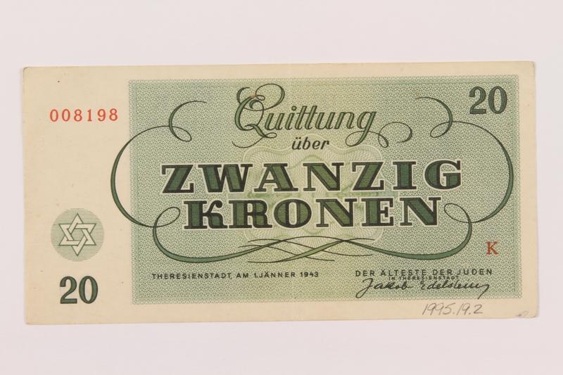 1995.19.2 back Theresienstadt ghetto-labor camp scrip, 20 kronen note