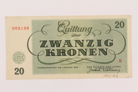 1995.19.2 back Theresienstadt ghetto-labor camp scrip, 20 kronen note  Click to enlarge