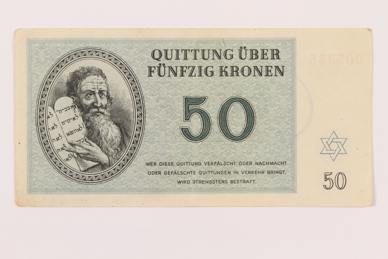 1995.19.3 front Theresienstadt ghetto-labor camp scrip, 50 kronen note
