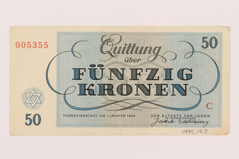 1995.19.3 back Theresienstadt ghetto-labor camp scrip, 50 kronen note