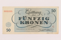 1995.19.3 back Theresienstadt ghetto-labor camp scrip, 50 kronen note  Click to enlarge