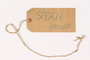 Luggage label used by a young girl on the Kindertransport