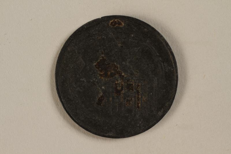1995.26.1 front Łódź (Litzmannstadt) ghetto scrip, 10 mark coin