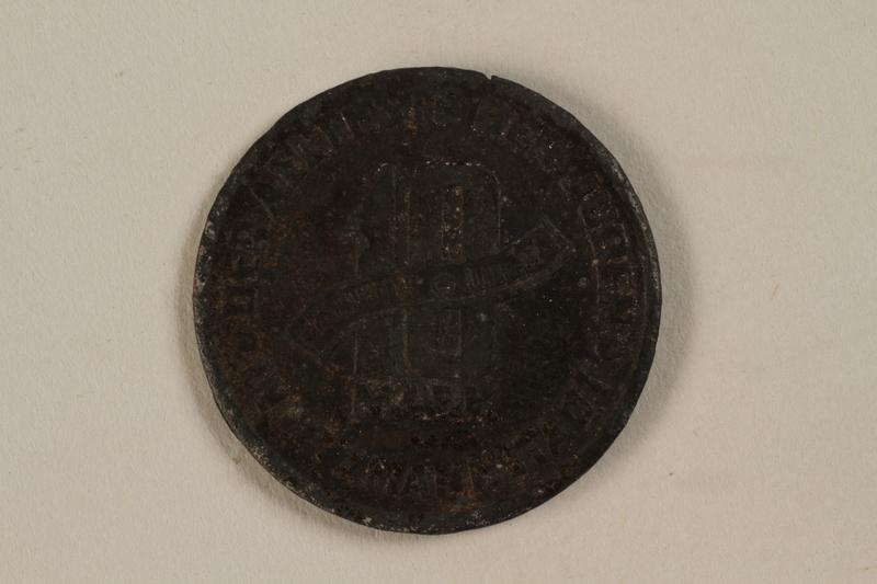 1995.26.1 back Łódź (Litzmannstadt) ghetto scrip, 10 mark coin