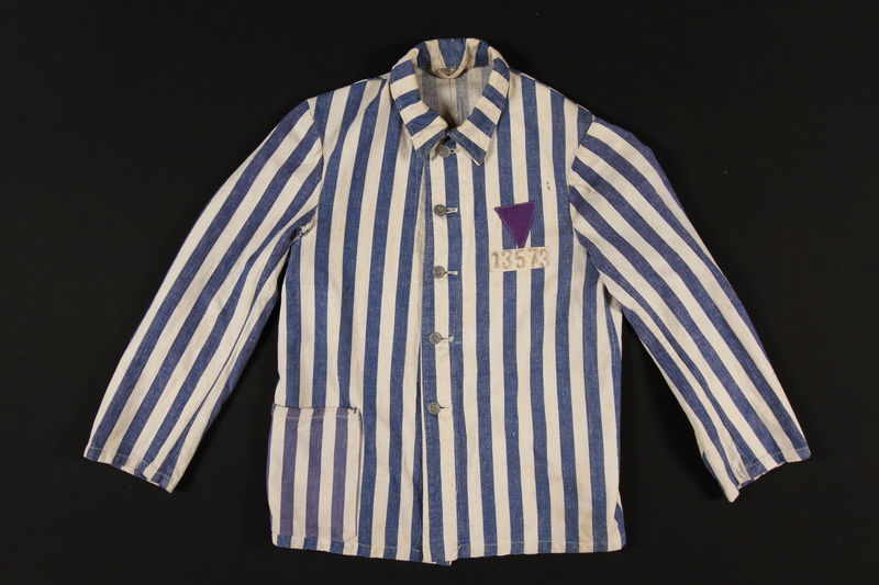 1989.271.1 front Concentration camp uniform jacket with purple triangle worn by Jehovah's Witness