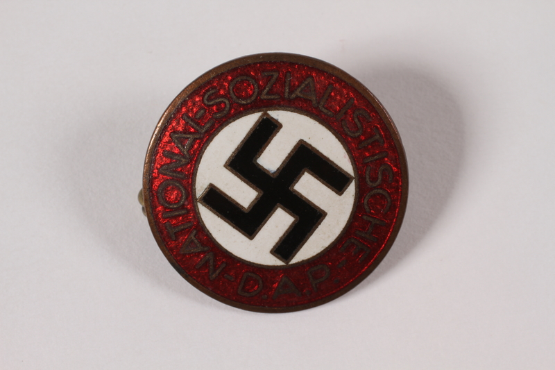 1995.4.1 front National Socialist German Workers Party pin worn by a Party member