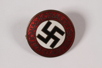 1995.4.1 front National Socialist German Workers Party pin worn by a Party member  Click to enlarge