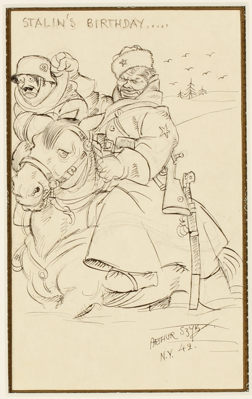 CM_1995.40.32 front Arthur Szyk drawing dramatizing Stalin's defeat of Hitler in the deep Russian snow