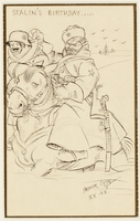 CM_1995.40.32 front Arthur Szyk drawing dramatizing Stalin's defeat of Hitler in the deep Russian snow  Click to enlarge
