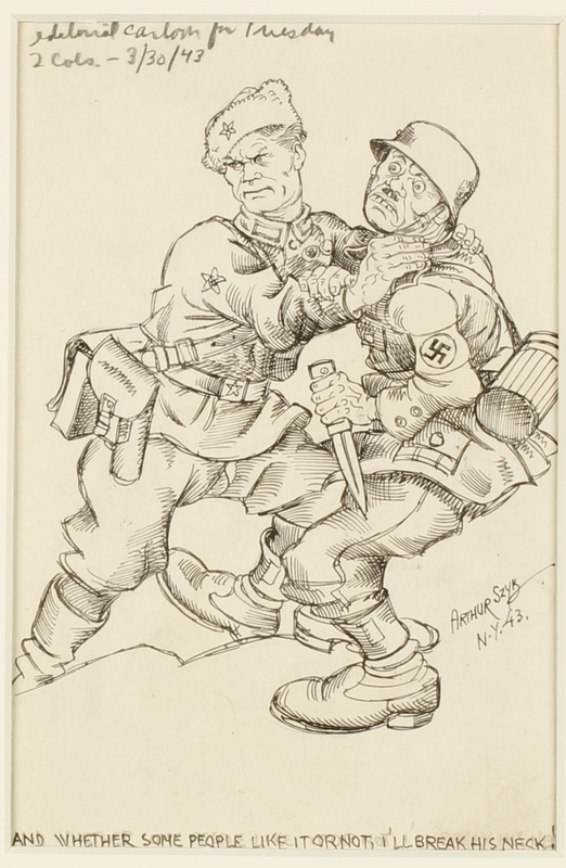 CM_1995.40.39 front Arthur Szyk anti-Nazi satirical drawing