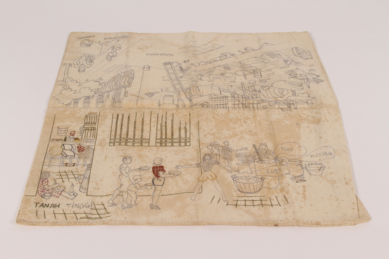 2015.35.2 front Pillowcase embroidered with scenes of camp life owned by a Dutch civilian held in a Japanese internment camp
