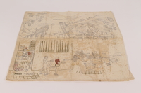 2015.35.2 front Pillowcase embroidered with scenes of camp life owned by a Dutch civilian held in a Japanese internment camp  Click to enlarge