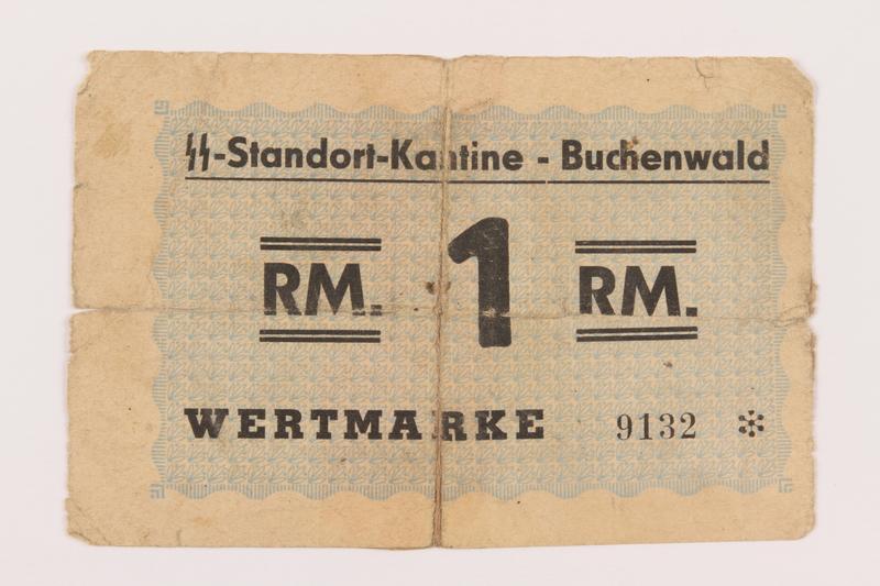1995.54.1 front Buchenwald Standort-Kantine concentration camp scrip, 1 Reichsmark, acquired by a US soldier
