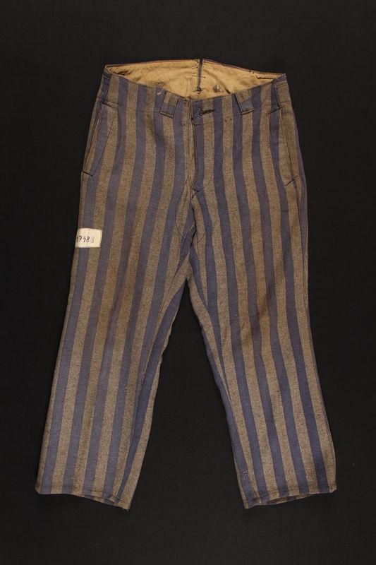 1995.57.1 front Concentration camp uniform pants worn by a Polish Jewish prisoner