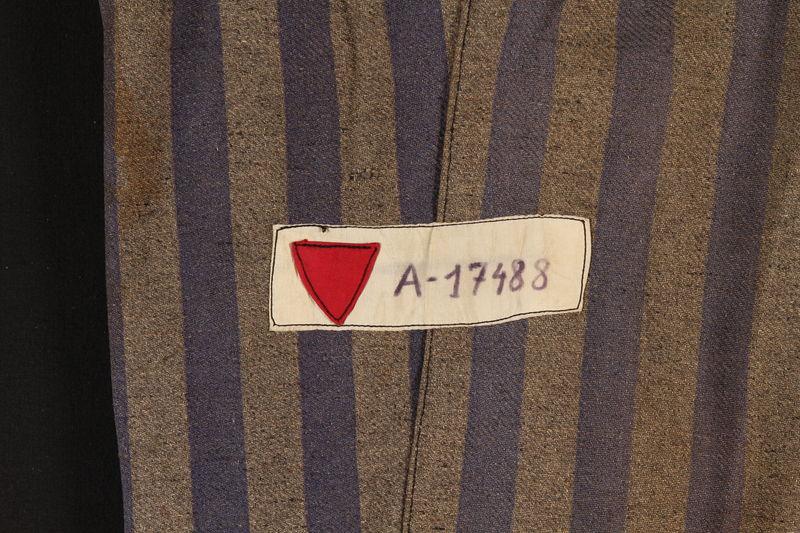 1995.57.1 detail Concentration camp uniform pants worn by a Polish Jewish prisoner