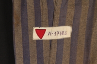 1995.57.1 detail Concentration camp uniform pants worn by a Polish Jewish prisoner  Click to enlarge