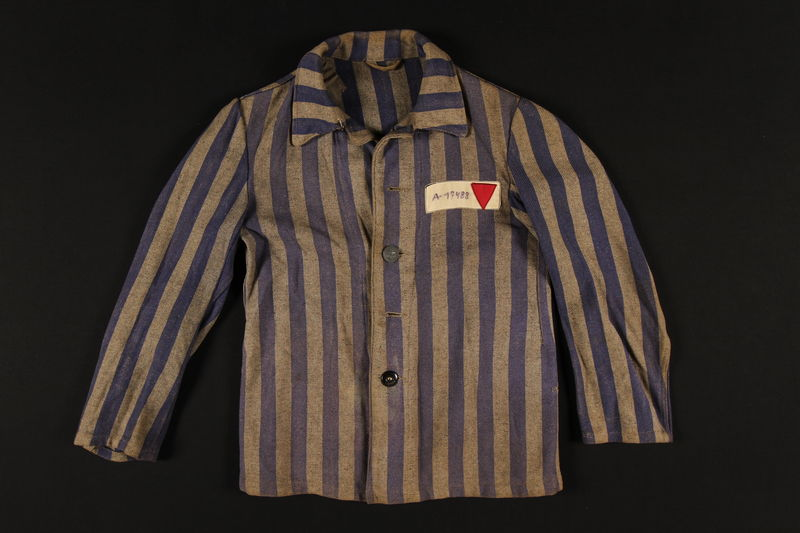 1995.57.2 front Concentration camp inmate uniform jacket worn by a Polish Jewish prisoner in several concentration camps