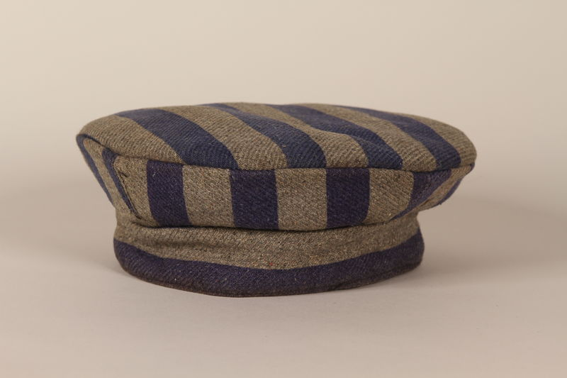 1995.57.3 front Concentration camp uniform cap worn by a Polish Jewish prisoner in several concentration camps
