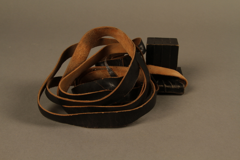 1995.60.2 right side Head tefillin worn by a Polish Jewish man in the Warsaw ghetto and in hiding