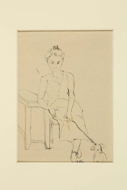 1988.1.32 front Sketch of a woman and dog by a German Jewish internee