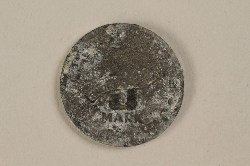1995.69.1 front Łódź (Litzmannstadt) ghetto scrip, 5 mark coin
