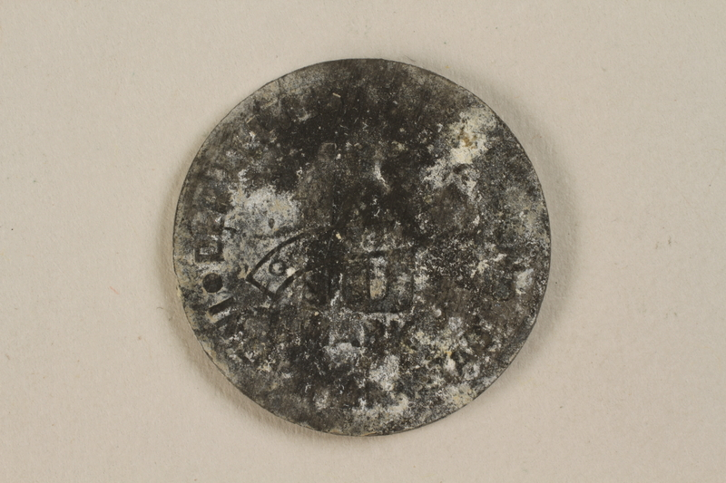 1995.69.2 back Łódź (Litzmannstadt) ghetto scrip, 10 mark coin