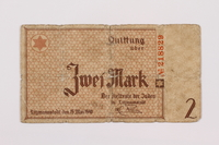 1995.69.4 front Łódź ghetto scrip, 2 mark note  Click to enlarge