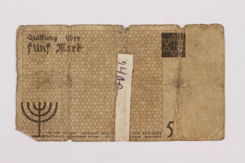 1995.69.5 back Łódź ghetto scrip, 5 mark note