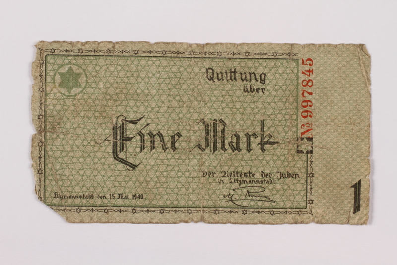 1995.74.1 front Łódź (Litzmannstadt) ghetto scrip, 1 mark note