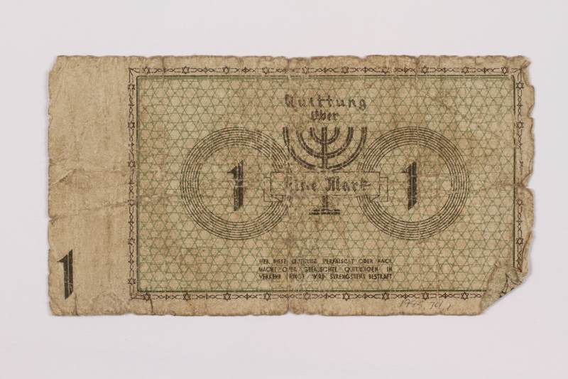 1995.74.1 back Łódź (Litzmannstadt) ghetto scrip, 1 mark note