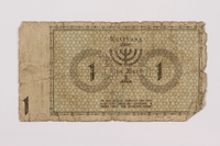 1995.74.1 back Łódź (Litzmannstadt) ghetto scrip, 1 mark note  Click to enlarge