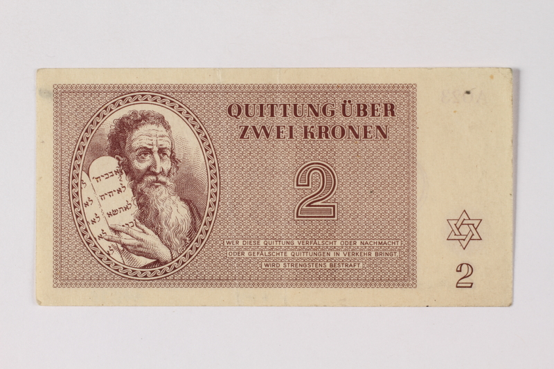 1995.78.1 front Theresienstadt ghetto-labor camp scrip, 2 kronen note, saved by a former German Jewish inmate