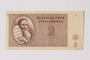 Theresienstadt ghetto-labor camp scrip, 2 kronen note, saved by a former German Jewish inmate