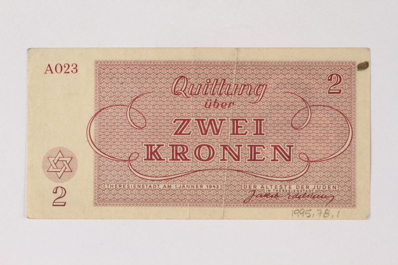1995.78.1 back Theresienstadt ghetto-labor camp scrip, 2 kronen note, saved by a former German Jewish inmate