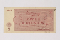 1995.78.1 back Theresienstadt ghetto-labor camp scrip, 2 kronen note, saved by a former German Jewish inmate  Click to enlarge