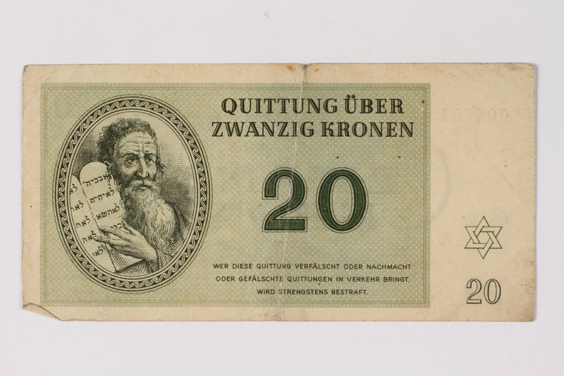 1995.78.2 front Theresienstadt ghetto-labor camp scrip, 20 kronen note, saved by a former German Jewish inmate