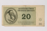 1995.78.2 front Theresienstadt ghetto-labor camp scrip, 20 kronen note, saved by a former German Jewish inmate  Click to enlarge