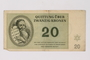Theresienstadt ghetto-labor camp scrip, 20 kronen note, saved by a former German Jewish inmate