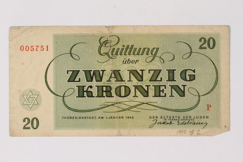 1995.78.2 back Theresienstadt ghetto-labor camp scrip, 20 kronen note, saved by a former German Jewish inmate