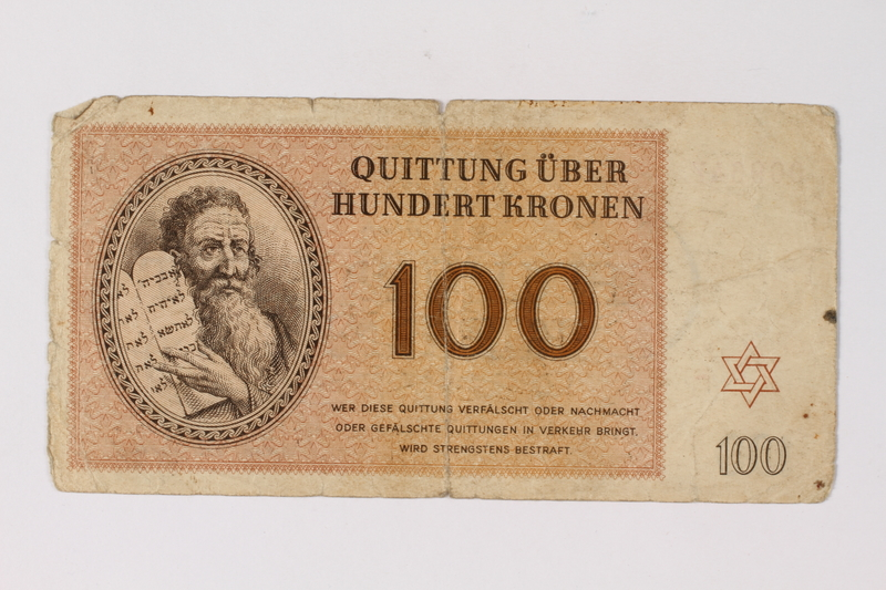 1995.78.3 front Theresienstadt ghetto-labor camp scrip, 100 kronen note, saved by a former German Jewish inmate