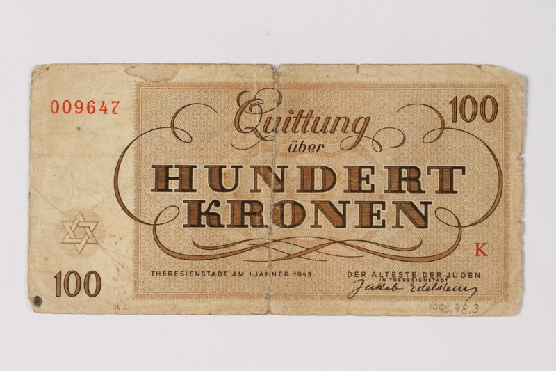 1995.78.3 back Theresienstadt ghetto-labor camp scrip, 100 kronen note, saved by a former German Jewish inmate
