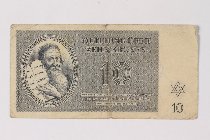 1995.78.4 front Theresienstadt ghetto-labor camp scrip, 10 kronen note, saved by a former German Jewish inmate