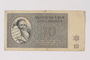 Theresienstadt ghetto-labor camp scrip, 10 kronen note, saved by a former German Jewish inmate