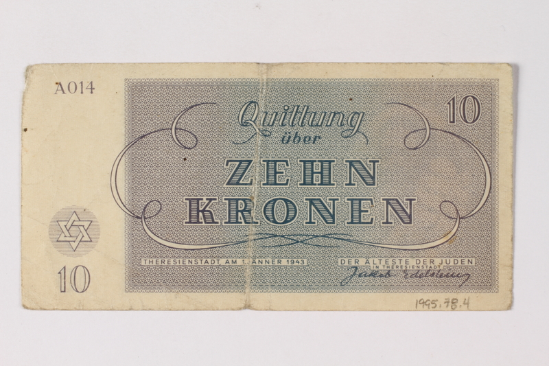 1995.78.4 back Theresienstadt ghetto-labor camp scrip, 10 kronen note, saved by a former German Jewish inmate