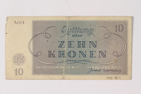 1995.78.4 back Theresienstadt ghetto-labor camp scrip, 10 kronen note, saved by a former German Jewish inmate  Click to enlarge