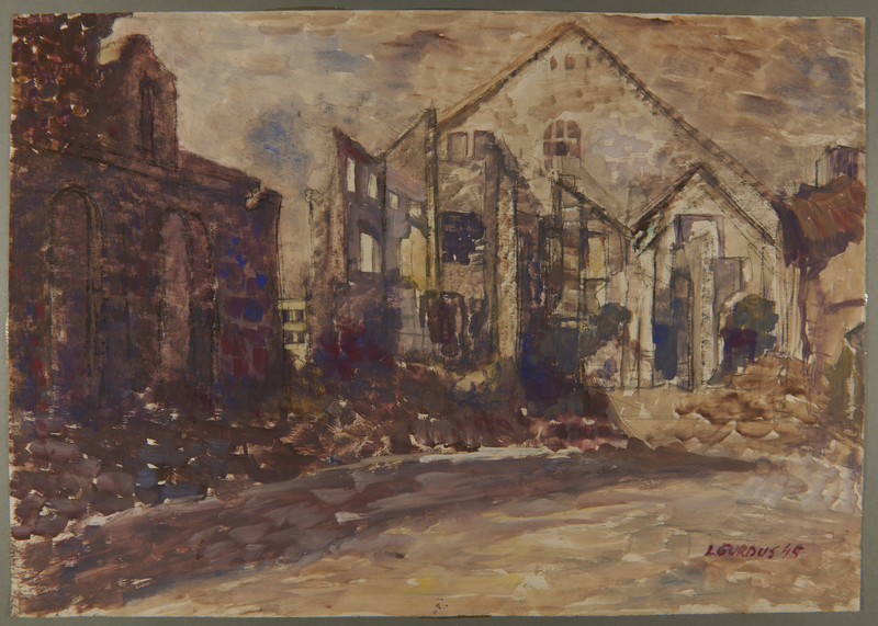 1995.82.11 front Gouache of destroyed buildings after the Warsaw Ghetto Uprising by a ghetto inmate
