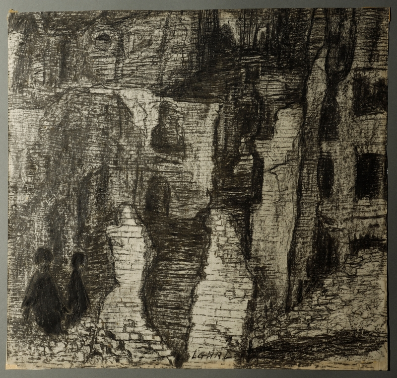 1995.82.17 front Autobiographical drawing of bombed out buildings