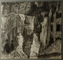 Autobiographical drawing of bombed out buildings