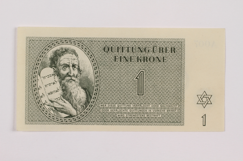 1995.83.1 front Theresienstadt ghetto-labor camp scrip, 1 krone note