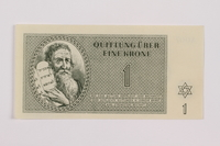 1995.83.1 front Theresienstadt ghetto-labor camp scrip, 1 krone note  Click to enlarge